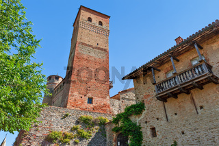 Old castle of Serralunga d'Alba in Italy.