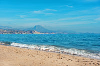 El Campello beach. El Campello is a town on the Costa Blanca. Alicante, Spain