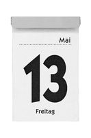 Calendar sheet friday the 13th of May isolated