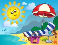 Sunlounger on beach image 1 - picture illustration.