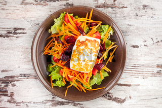 Grilled halloumi with salad.