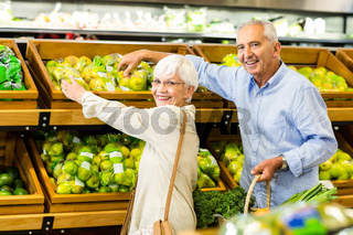Smiling senior couple at the grocery shop