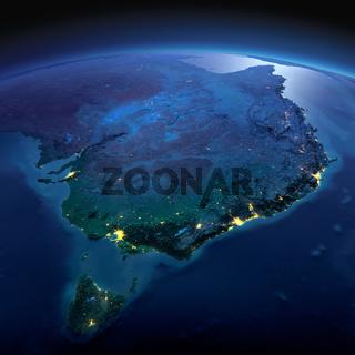 Detailed Earth. Australia and Tasmania on a moonlit night