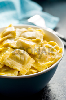 cooked ravioli in bowl