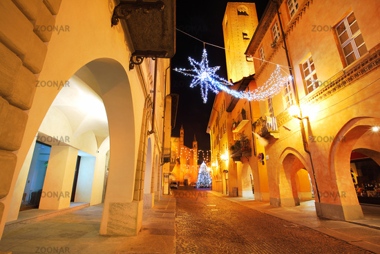 Town center at evening. Alba, Italy.