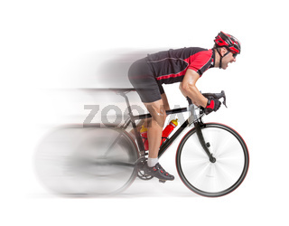 bicyclist riding a bicycle isolated on white background