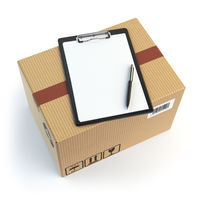 Delivery concept. Cardbox, pen and clipboard with receiving form isolated on white.