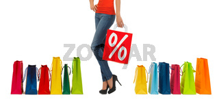close up of woman with shopping bag