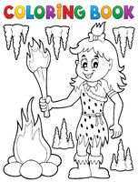 Coloring book cave woman theme 1 - picture illustration.