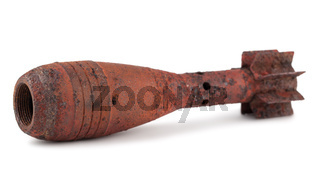 Old rusty mortar bomb without a detonator