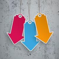 3 Colored Price Stickers Arrows Concrete PiAd