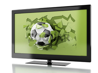3d soccer ball breaking Tv screen.