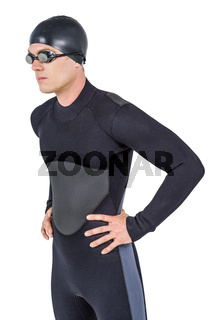 Confident swimmer in wetsuit