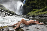 Nude at a Waterfall