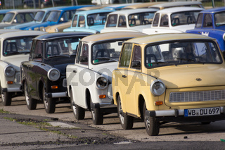 Group of Trabant cars to rent for sightseeing tours in Berlin