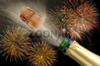 Erfolg mit Champagner und Feuerwerk