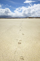 sand beach with footprints at Donegal Ireland