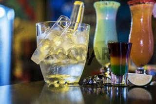 cocktails on bar background