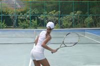 Woman on tennis court