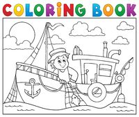 Coloring book with fishing boat theme 1 - picture illustration.