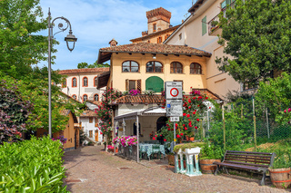 Small street and houses of barolo, Italy.