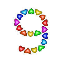Number 9 made of multicolored hearts on white background