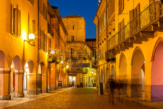 Street of Alba in evening.