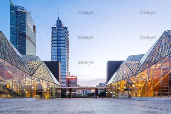 modern business buildings around square in zhuhai
