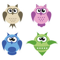 Four colorful owls