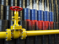 Oil pipe line valve in front of the russian flag on the oil barrels. Iranian gas and oil fuel energy concept.