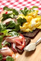 German Abendbrot, Pumpernickel With Matjes, Scrambled Eggs And Salad