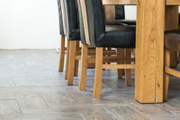 Closeup of wooden chairs and table legs