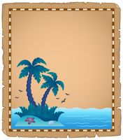 Parchment with tropical island theme 2 - picture illustration.