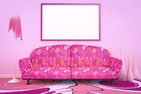 pink flower power sofa