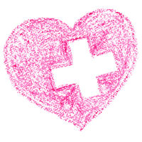 Pink heart with cross