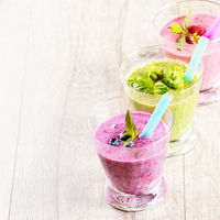 Blueberry shake on white table