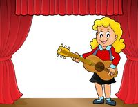 Girl guitar player on stage theme 1 - picture illustration.