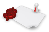 dollarzeichen und spielfigur mit krawatte - 3d illustration