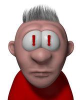 cartoonfigur mit ausrufezeichen in den augen - 3d illustration