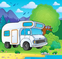 Camping van on lake shore - picture illustration.