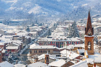 Small town covered with snow in Italy.