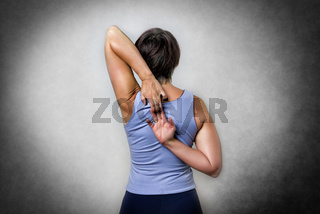 Middle aged woman doing stretching