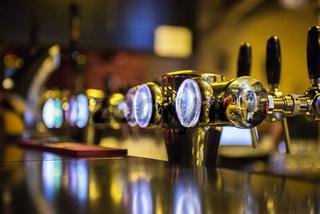 Metallic beer taps
