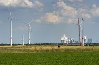 Under construction wind farm off the lignite power plants Neurath. Rhine coalfield.