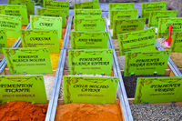 selection of spices on the green market of Granada, Spain