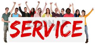 Service multikulturell Gruppe lachen Jugendliche Menschen halten Schild