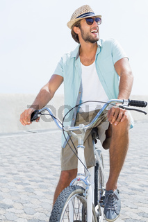 Handsome man on a bike ride