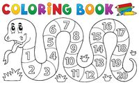 Coloring book snake with numbers theme - picture illustration.