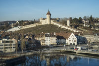View over the Rhine to the old town of Schaffhausen with the Munot fortress