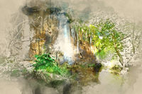 Digital watercolor painting of a beautiful waterfall. Plitvice Lakes National Park in Croatia